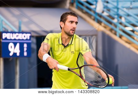 Mason Ohio - August 15 2016: Marin Cilic in a first round match at the Western and Southern Open in Mason Ohio on August 15 2016.