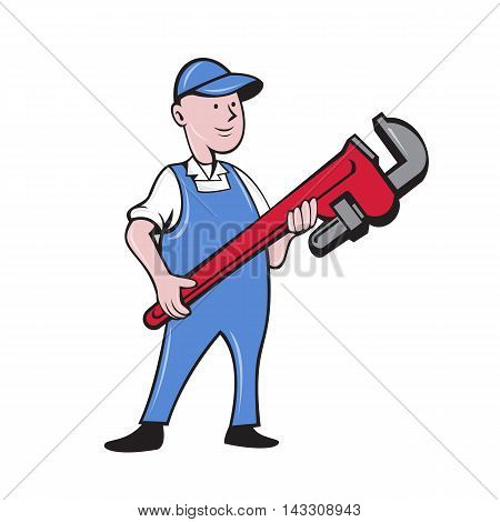 Illustration of a mechanic cradling holding giant pipe wrench standing looking to the side viewed from front set on isolated white background done in cartoon style.
