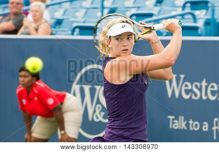 Mason Ohio - August 15 2016: Coco Vandeweghe in a first round match at the Western and Southern Open in Mason Ohio on August 15 2016.