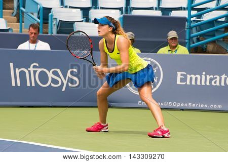 Mason Ohio - August 16 2016: Alize Cornet in a match at the Western and Southern Open in Mason Ohio on August 16 2016.