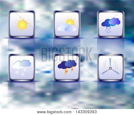 Set of weather square icons on a background of sky. Six weather icons with sun, clouds, vane and snowflakes