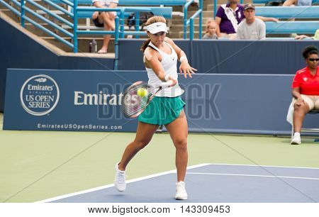 Mason Ohio - August 13 2016: Lauren Davis in a qualifying match versus Viktorija Golubic at the Western and Southern Open in Mason Ohio on August 13 2016.