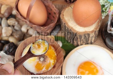 Onsen egg or soft-boiled egg is delicious