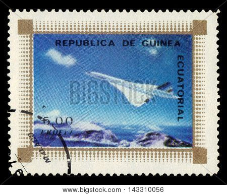 Equatorial Guinea - circa 1976: A stamp printed in the Equatorial Guinea shows supersonic passenger jet airliner Concorde, circa 1976