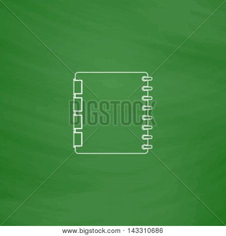 Organizer Outline vector icon. Imitation draw with white chalk on green chalkboard. Flat Pictogram and School board background. Illustration symbol