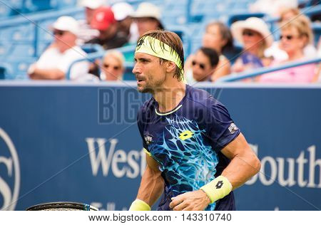 Mason Ohio - August 15 2016: David Ferrer in a first round match at the Western and Southern Open in Mason Ohio on August 15 2016.