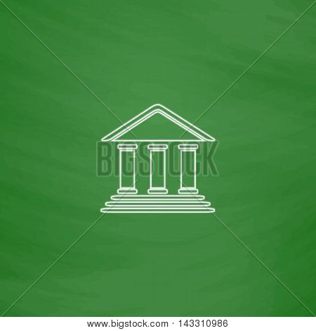 bank Outline vector icon. Imitation draw with white chalk on green chalkboard. Flat Pictogram and School board background. Illustration symbol