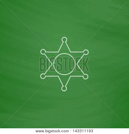 Sheriff star Outline vector icon. Imitation draw with white chalk on green chalkboard. Flat Pictogram and School board background. Illustration symbol