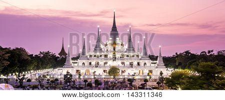 Prang Temple Wat asokaram of Samutprakarn Province Thailand