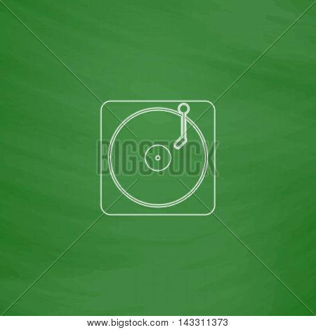 vinyl Outline vector icon. Imitation draw with white chalk on green chalkboard. Flat Pictogram and School board background. Illustration symbol