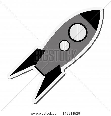 flat design toy rocket icon vector illustration