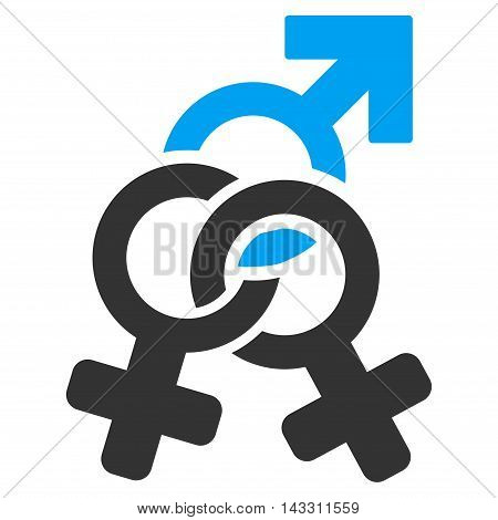 Double Mistress icon. Glyph style is bicolor flat iconic symbol with rounded angles, blue and gray colors, white background.