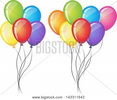 Celebrate vector balloons on white background. Air balloon, inflatable balloon air, rubber air balloon flying, festival decoration birthday illustration vector