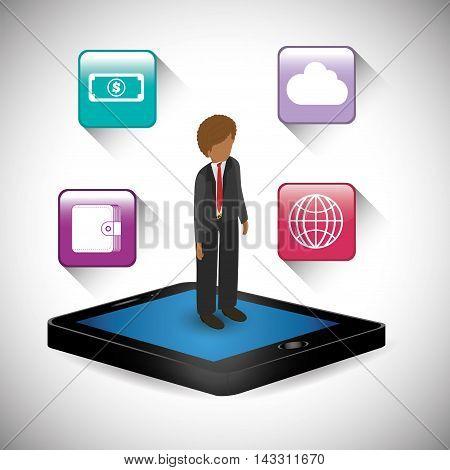 smartphone businessman social media technology digital app icon set. Flat illustration. Vector illustration