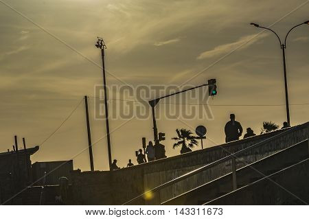 MONTEVIDEO, URUGUAY, DECEMBER - 2015 - Backlight sunset scene at one of the beaches of Montevideo Uruguay
