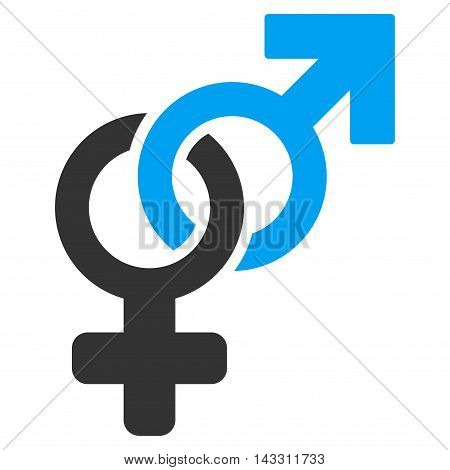 Heterosexual Symbol icon. Glyph style is bicolor flat iconic symbol with rounded angles, blue and gray colors, white background.