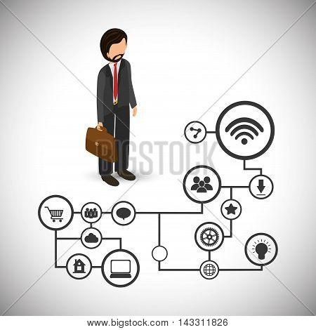 businessman social media technology digital app icon set. Flat illustration. Vector illustration