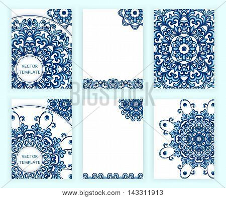 Templates for flyer, banner, brochure, invitation, placard, poster, greeting card. Abstract backgrounds with mandalas in gzhel style. Arabic, asian, islamic, indian motifs. Vector illustration.