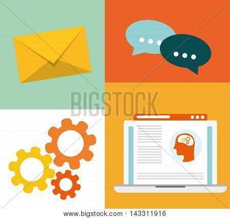 laptop envelope gear bubble social media technology digital app icon set. Flat illustration. Vector illustration