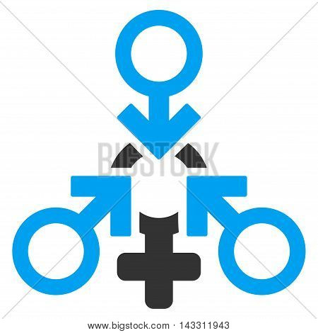 Triple Penetration Sex icon. Glyph style is bicolor flat iconic symbol with rounded angles, blue and gray colors, white background.