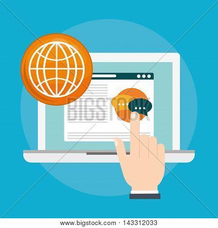 laptop bubble social media technology digital app icon set. Flat illustration. Vector illustration