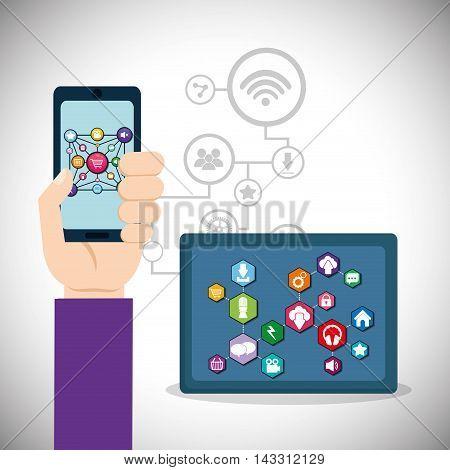 smartphone tablet social media technology digital app icon set. Flat illustration. Vector illustration