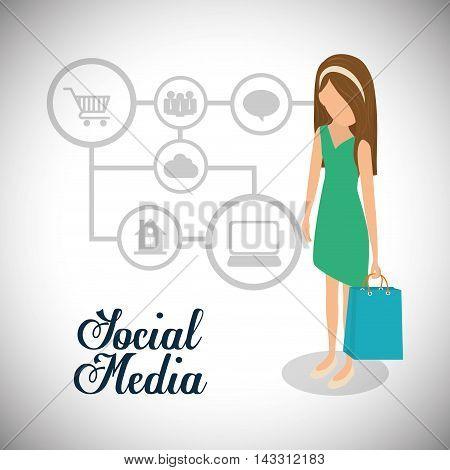 girl woman social media technology digital app icon set. Flat illustration. Vector illustration