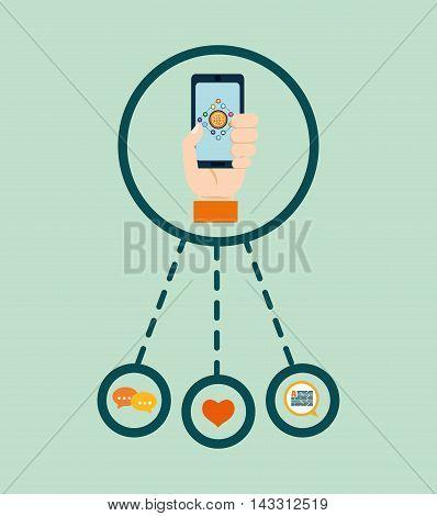 smartphone social media technology digital app icon set. Flat illustration. Vector illustration