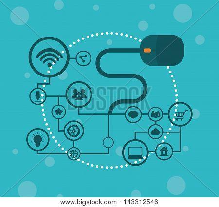 mouse social media technology digital app icon set. Flat illustration. Vector illustration