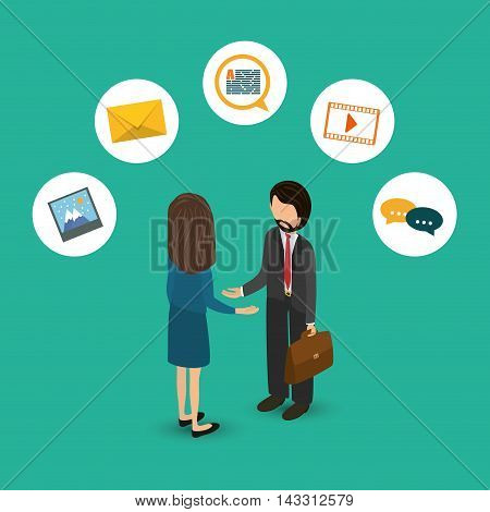 girl woman businessman suitcase social media technology digital app icon set. Flat illustration. Vector illustration