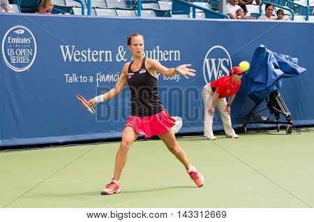 Mason Ohio - August 13 2016: Viktorija Golubic in a qualifying match versus Lauren Davis at the Western and Southern Open in Mason Ohio on August 13 2016.