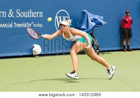 Mason Ohio - August 13 2016: Sabine Lisiki in a qualifying match at the Western and Southern Open in Mason Ohio on August 13 2016.