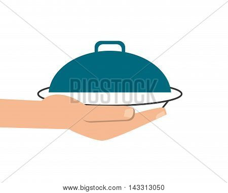 flat design elegant food tray icon vector illustration