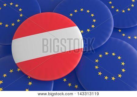 Austria And The European Union: Austrian Flag And EU Flag Badges 3d illustration