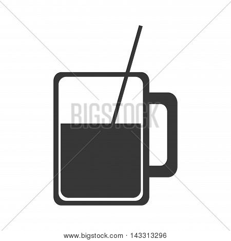 flat design glass cup with straw icon vector illustration