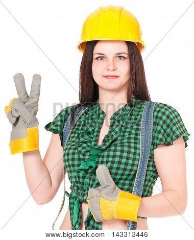 Pretty woman in a helmet and gloves isolated on white background close-up