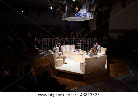MOSCOW, RUSSIA - MAY 16, 2015: Sphere Moscow Drama theater on day of media preview of play Turning into Listening Ear after novel by A.Ponizovsky