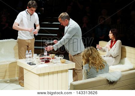 MOSCOW, RUSSIA - MAY 16, 2015: Media preview of play Turning into Listening Ear after novel by Ponizovsky in Sphere Moscow Drama theater