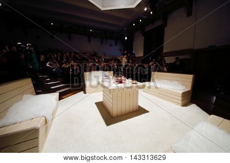 MOSCOW, RUSSIA - MAY 16, 2015: Stage of Sphere Moscow Drama theater on day of media preview of play Turning into a Listening Ear after a novel by A.Ponizovsky