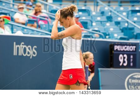 Mason Ohio - August 16 2016: Karolina Pliskova in a match at the Western and Southern Open in Mason Ohio on August 16 2016.