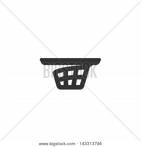 Shopping cart logo silhouette design template isolated on a white background. Simple concept icon for web, mobile and infographics. Abstract symbol, sign, pictogram, illustration - stock vector