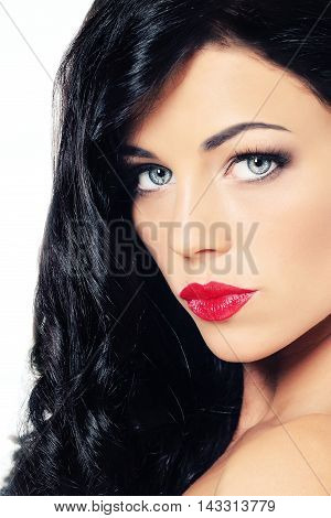 Young Beautiful Woman with Curle Brunette Hair Beauty Portrait