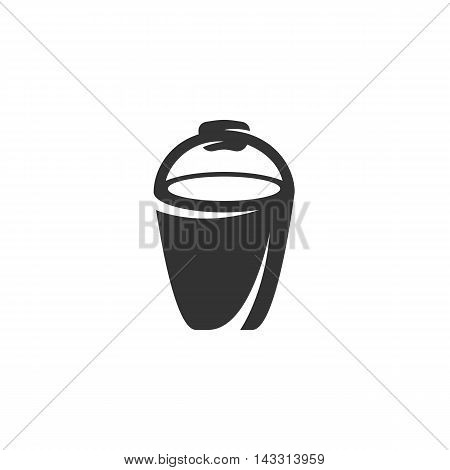 Bucket logo silhouette design template isolated on a white background. Simple concept icon for web, mobile and infographics. Abstract symbol, sign, pictogram, illustration - stock vector