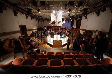 MOSCOW, RUSSIA - MAY 16, 2015: People take seats in auditorium of Sphere Moscow Drama theater on the day of media preview of play Turning into a Listening Ear after a novel by A.Ponizovsky