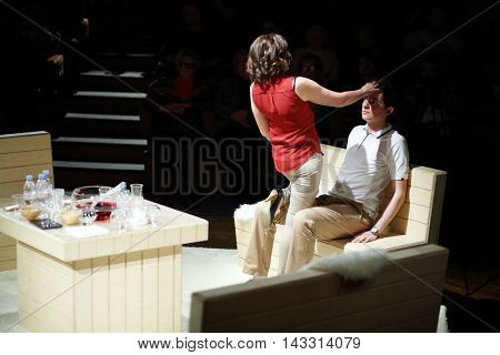 MOSCOW, RUSSIA - MAY 16, 2015: Media preview show of play Turning into Listening Ear after novel by Ponizovsky in Sphere Moscow Drama theater
