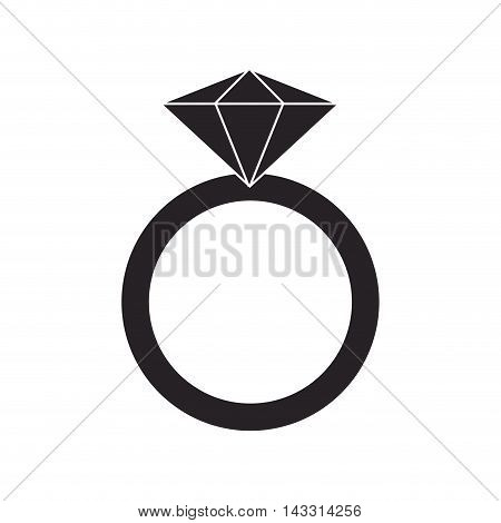 flat design ring with precious stone icon vector illustration