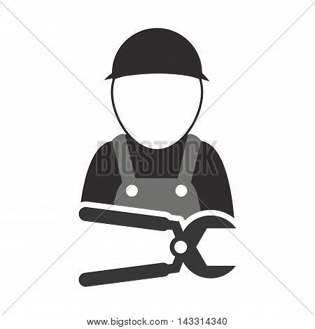 pliers constructer tool repair construction silhouette icon. Flat and Isolated design. Vector illustration