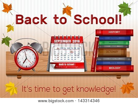 Postcard for Knowledge Day. Back to school. Time knowledge. 1 September. Vector illustration