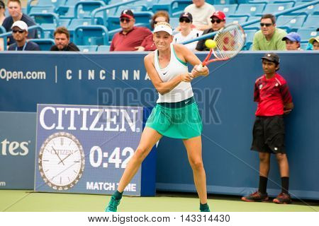 Mason Ohio - August 13 2016: Donna Vekic in a qualifying match at the Western and Southern Open in Mason Ohio on August 13 2016.