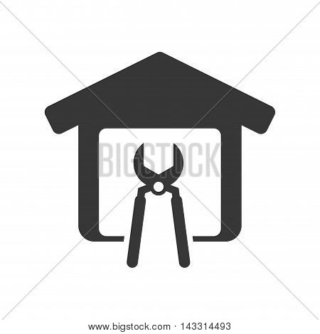pliers tool house home repair construction silhouette icon. Flat and Isolated design. Vector illustration